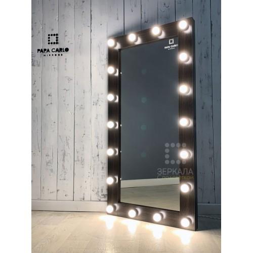 Гримерное зеркало венге с подсветкой лампами 140х80 см